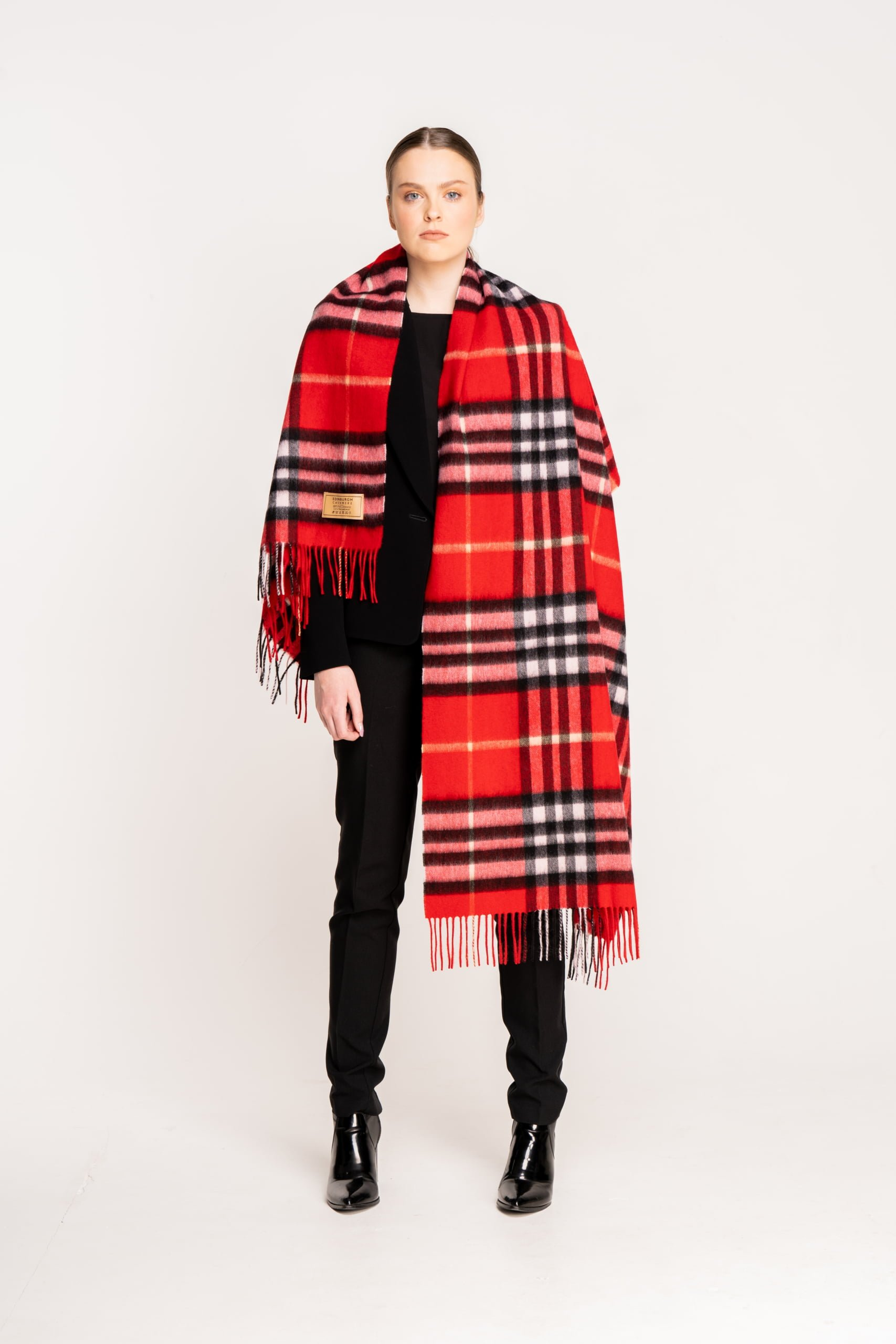 G 1 Edinburgh Cashmere Red Check Lambswool Stole  scaled