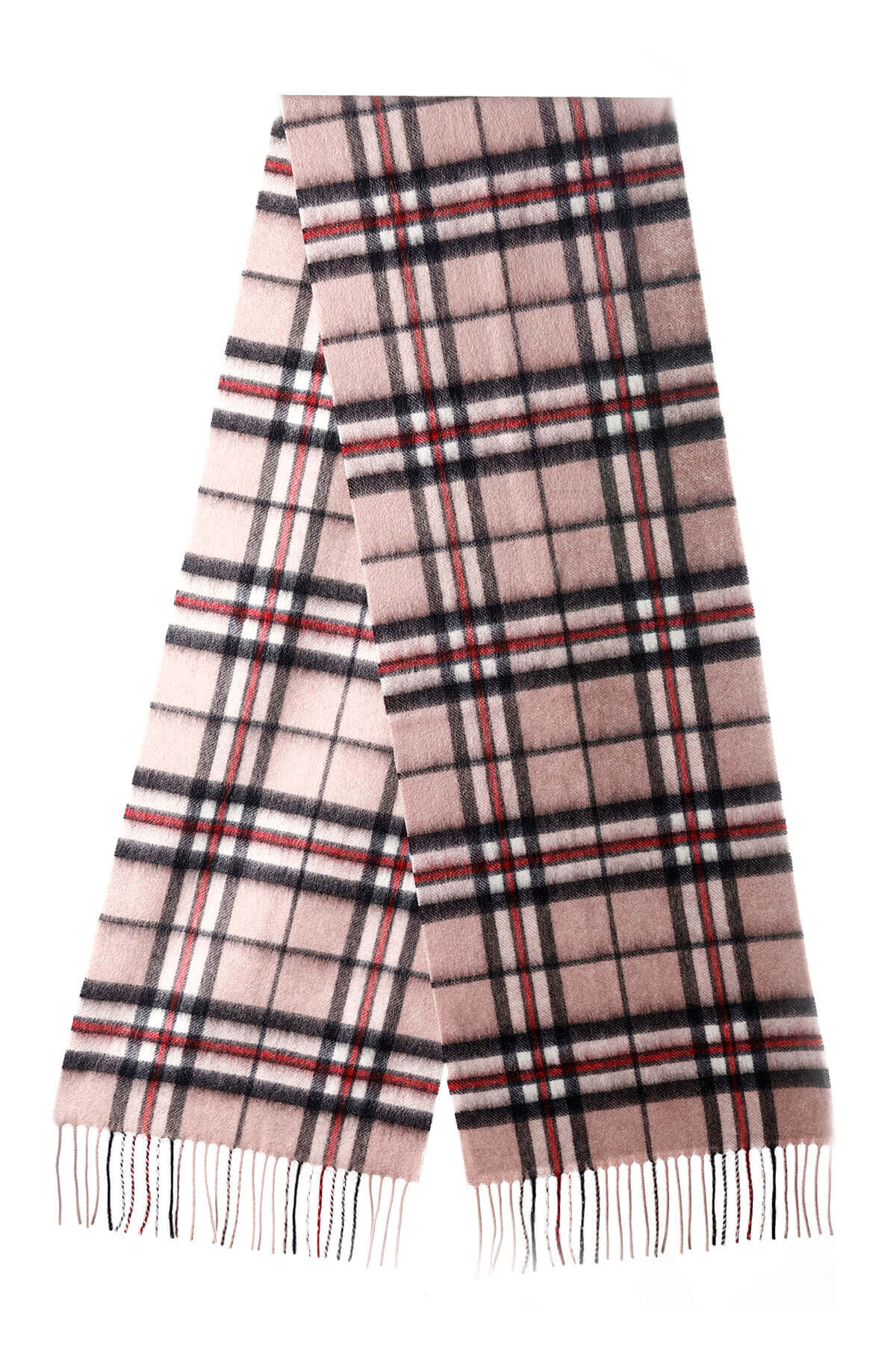 thomson camel pink check scarf